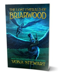 Book cover display for The Lost Emerald of Briarwood