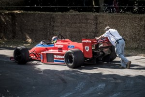 Beatrice Lola-Ford THL2 being pushed back to the paddock.