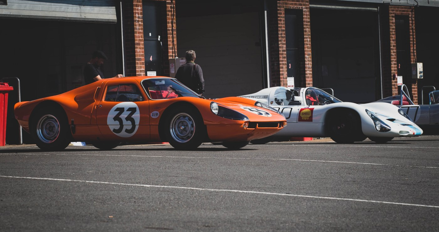 Porsche 904 and 910 in the pits