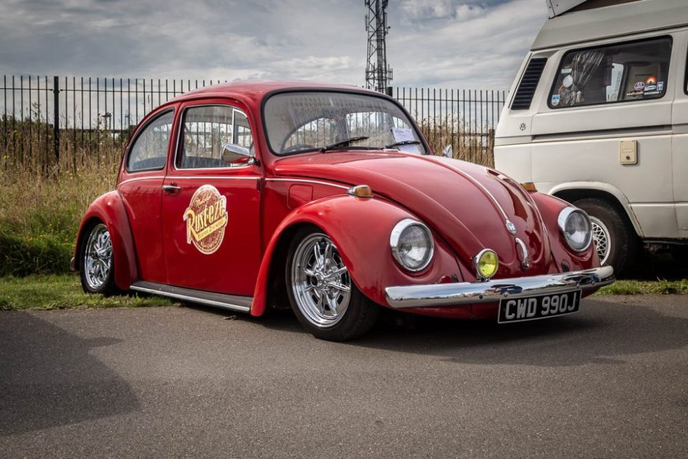 Red 1971 Beetle on chrome sprint star wheels