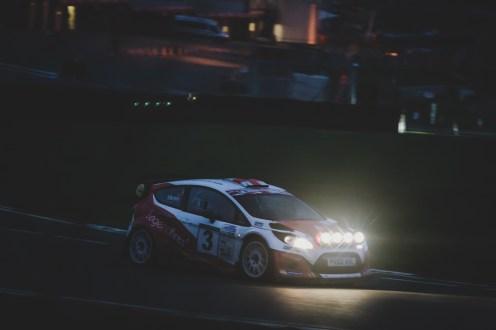 Night shot of WRC Fiesta rally car