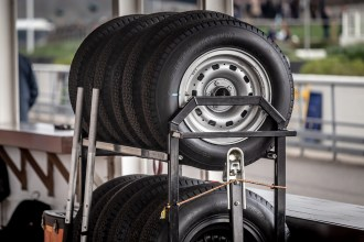 Spare tyres in the Goodwood pits