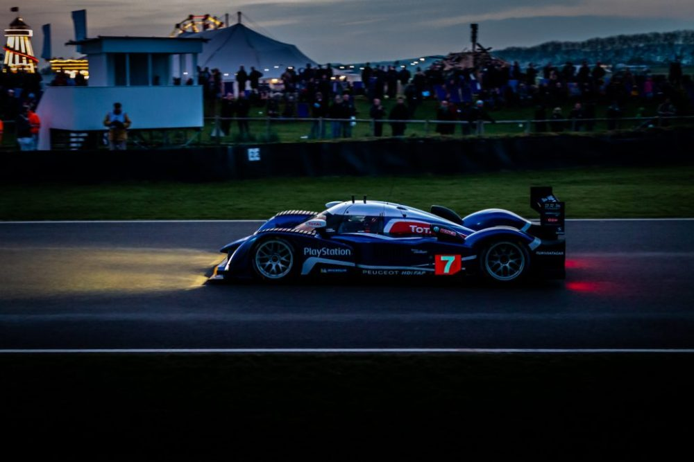 Le Mans race car at night