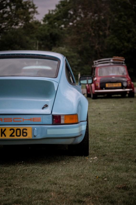 Rear of Porsche 911 and Austin Mini