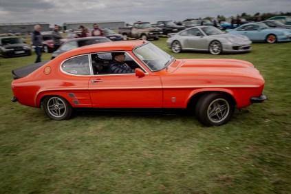 Orange Ford Capri leaving the Squadron Scramble event