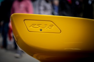 Yellow Porsche RS 3.8 rear spoiler