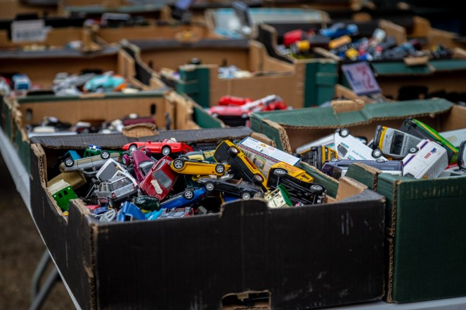 Boxes of toy cars