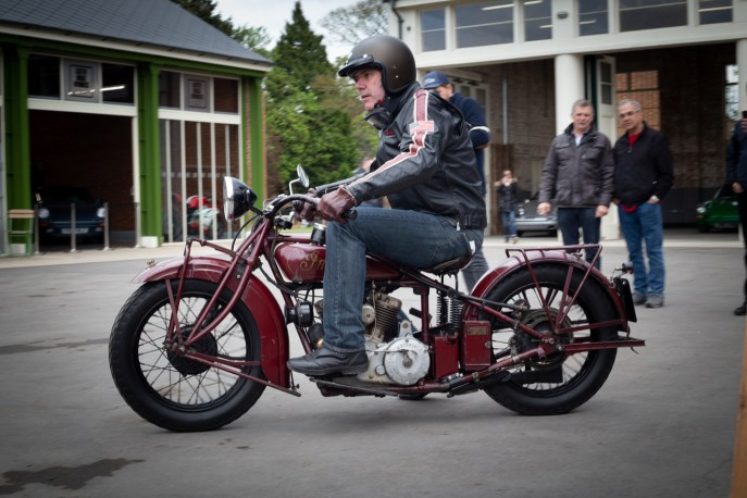 Riding a classic 1930's Indian motorcycle