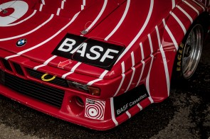 Red BMW M1 race car in BASF livery