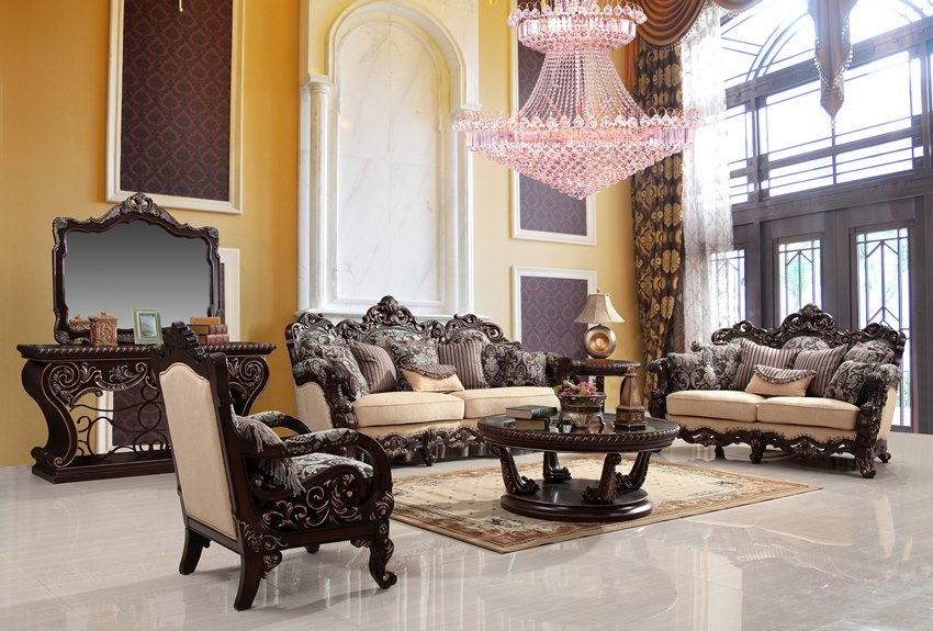 Luxury Living Room Set With Wood Carvings