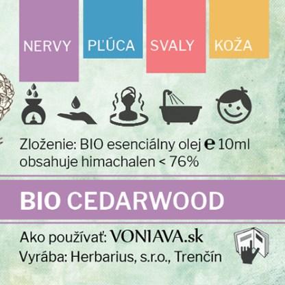 EO Organický CÉDER etiketa Voniava