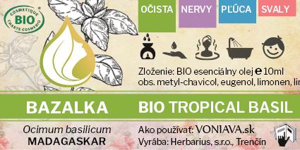 EO Organická BAZALKA etiketa Voniava