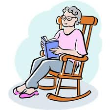 older woman in rocking chair reading - cartoon