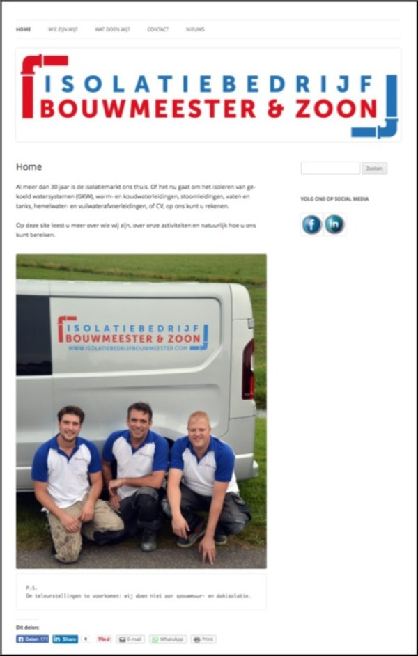 Bouwen en hosting van website van Isolatiebedrijf Bouwmeester & Zoon, inclusief tekstschrijven.