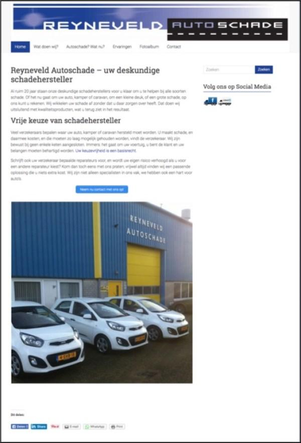 Bouwen en hosting van website van Reyneveld Autoschade, inclusief tekstschrijven.