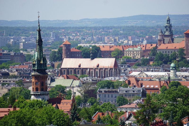 Blick vom kostenlosen Aussichtspunkt in Krakau