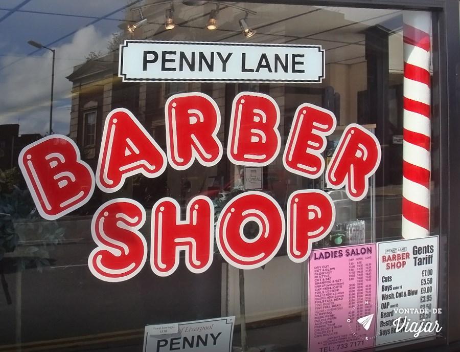Barbearia na esquina da Penny Lane