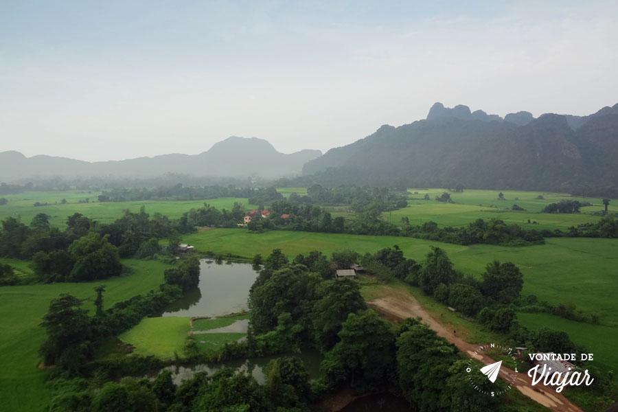 Vang Vieng Laos - Vista do voo de balao