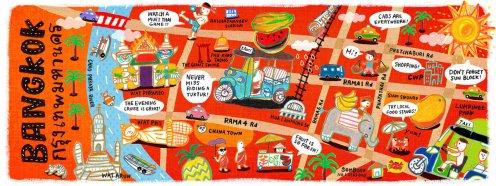 Mapa ilustrado - Bangkok na Tailandia by Aunyarat Watanabe