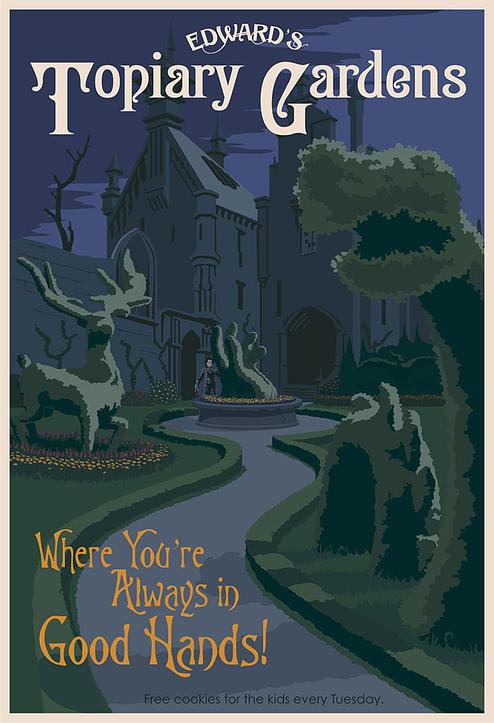 Poster de viagem - Edward Maos de Tesoura Topiary Gardens - Steve Thomas