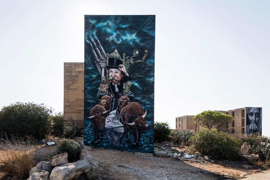 Malta Street Art - Monopoly White Rocks - Graffiti de James Grimaud aka Twitchcraft - Foto Gianni Cipriano NYT