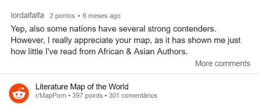 Mapa literario Comentario Reddit Literature Map of the World