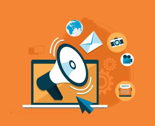 Publicidade online. Ilustração de um laptop e diversos ícones saindo da tela.