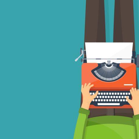 Ilustração de uma pessoa sentada no chão e escrevendo em uma máquina de escrever