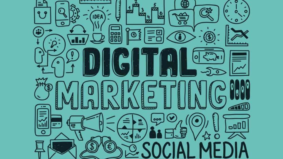 """Ilustração de diversos ícones relacionados a marketing digital em volta do título """"marketing digital"""""""