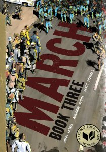 March. Book Three by John Lewis. Image of protestors with press taking photos.