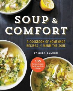 Soup & Comfort Cookbook Cover. Three types of bowls of soups.