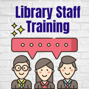 Library Staff Training Image with three smiling people