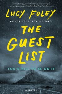 The Guest List by Lucy Foley. Image of dark, foreboding island from a viewpoint from the front of a boat in a rainstorm.