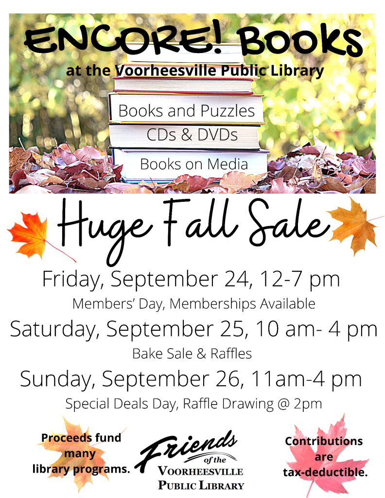 Friends of the Voorheesville Library Encore Books Fall Sale Flyer