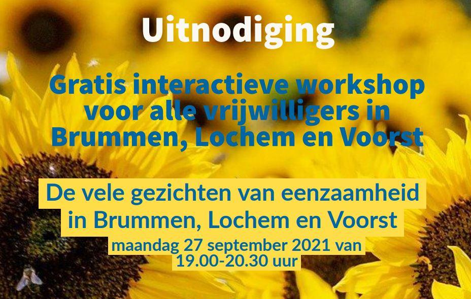 """Gratis online workshop """"Vele gezichten van Eenzaamheid"""" op 27 september"""