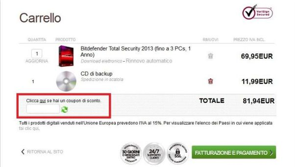 Coupon di sconto Bitdefender