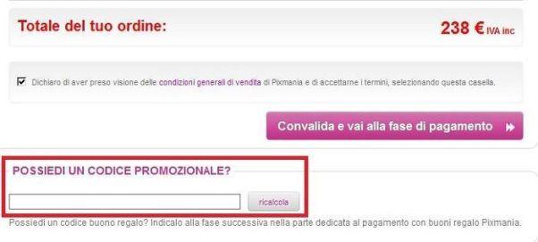 codice promozionale pixmania