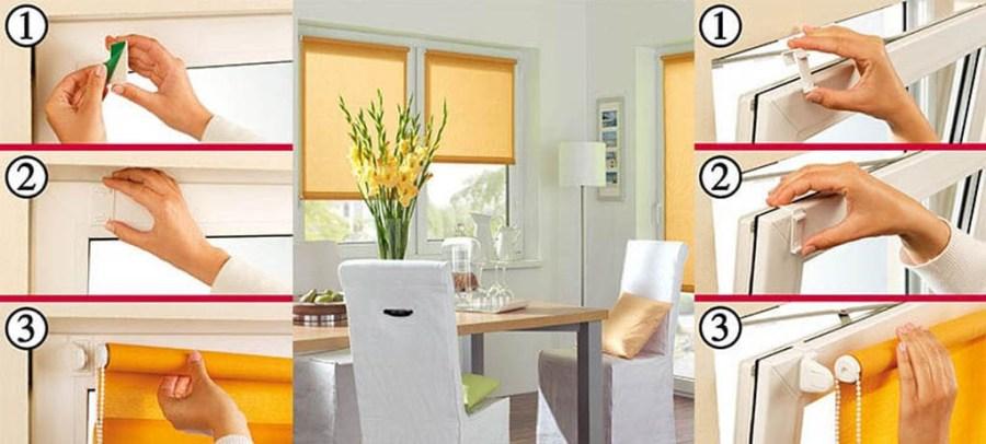 Установка рулонной шторы открытого типа на пластиковое окно без сверления