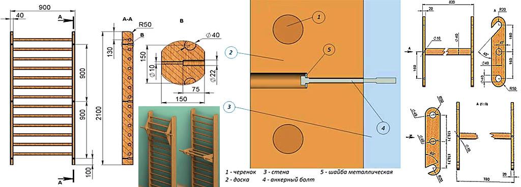 Швед қабырғасының ілінген ағаш кесек ұстағышымен сызбалар