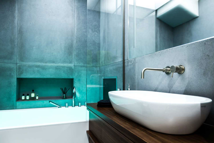0244 dark wood vanity unit with oval bowl basin and concrete tiles bathroom in NW8 London