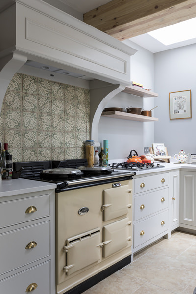 647 aga cooker and neptune kitchen in green in west london