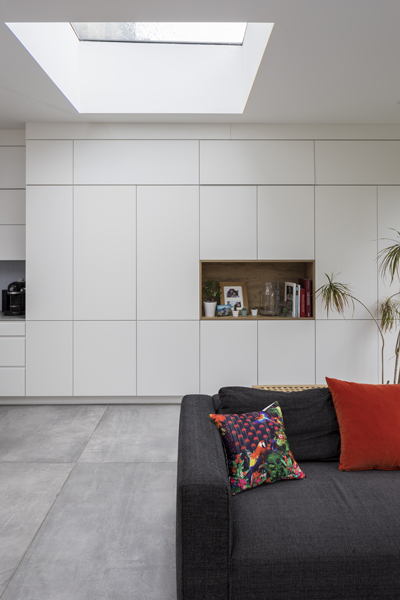 0557 builtin white storage cabinets in living room in rear extension