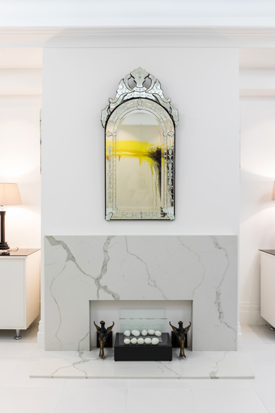 0587 marble fireplace surround and ethanol fireplace in dining room mirror