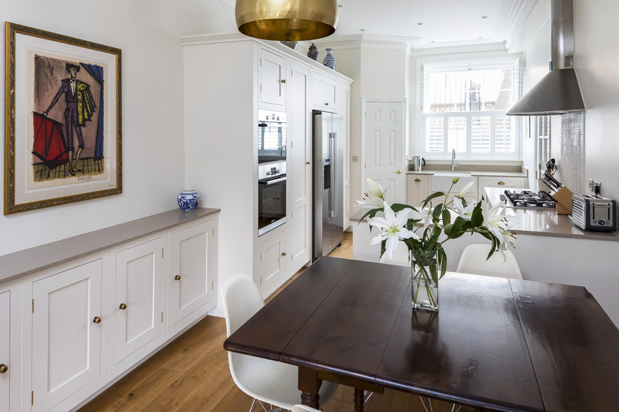 0736 dining room and kitchen with white shaker cabinets
