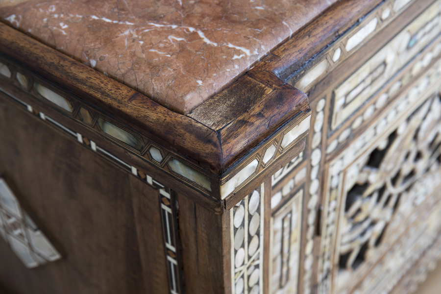 0736 antique wood nacre and red stone cabinet london