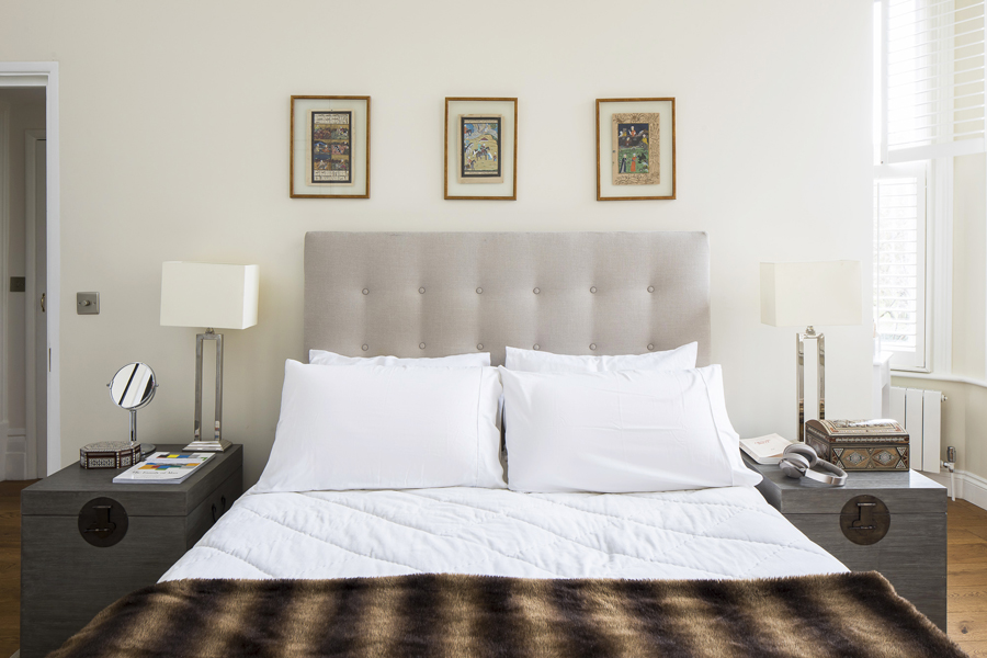 0736 beige headboard and coffer bed side table in master bedroom