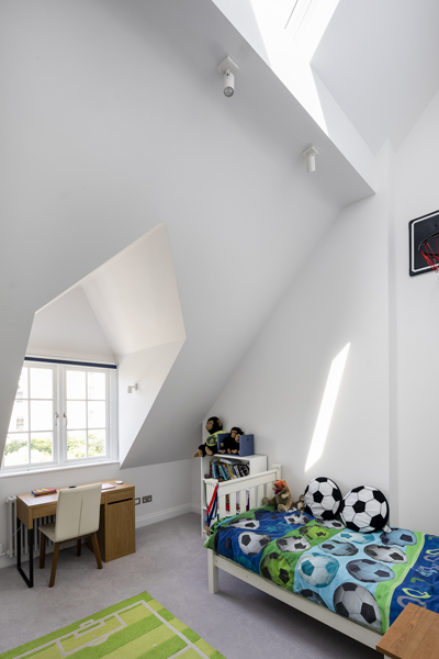 0776 boys bedroom in loft with study desk space in north west london