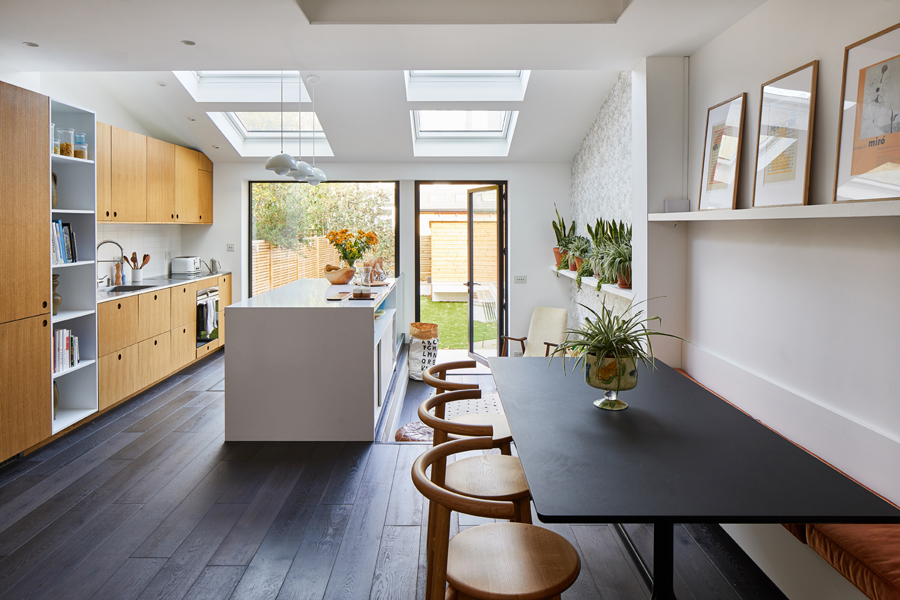 0848 kitchen diner with children play area and roof lights in SW18