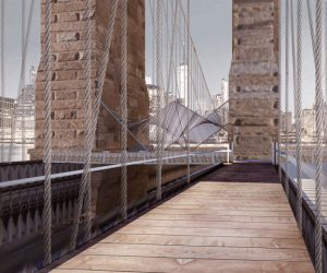02025 Konzept für eine temporäre Café-Installation an der Brooklyn Bridge in New York