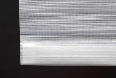Beschwerungsprofile weiss mit Stoff für unten für Flächenvorhänge mit Lasercut